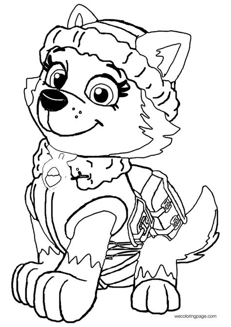 everest paw patrol coloring page youngandtaecom everest paw patrol paginas  colorir