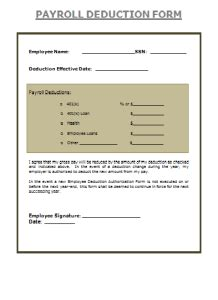 payroll deduction form payslips pinterest deduction