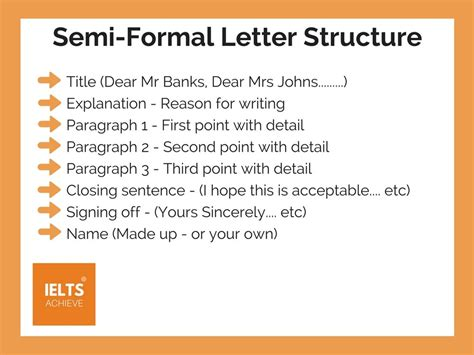 write  semi formal letter ielts achieve