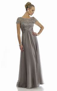 elegant with sleeves beaded chiffon long evening dress With gray cocktail dress for wedding