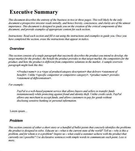 Executive Summary Exle by Sle Executive Summary Template 12 Documents In Pdf