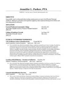 Therapy Entry Level Resume Sles by Entry Level Pta Resume