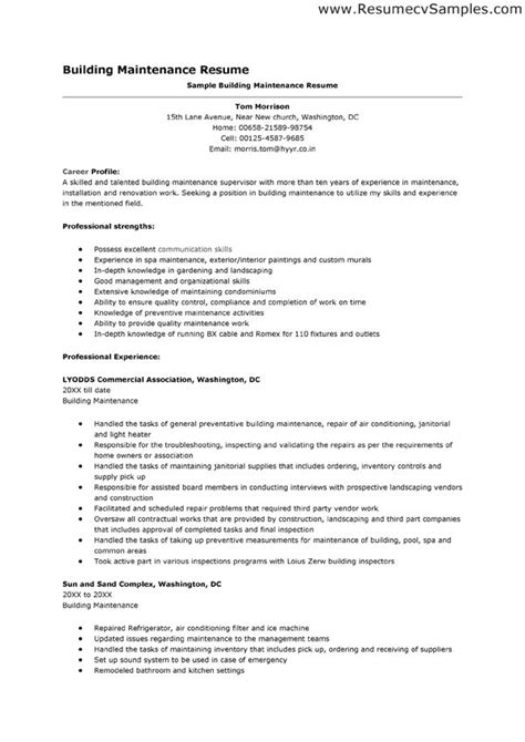 Industrial Maintenance Resume Objective Exles by Maintenance Clerk Resume Aircraft Maintenance Record Clerk Maintenance Resume