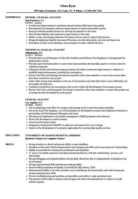 Qa Resume by Resume For Qa Analyst