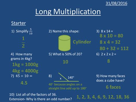 year 7 year 8 ks3 lessons multiplication short division