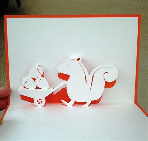 squirrel pop  card template  handmade papercraft