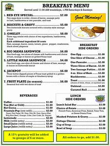 breakfast menu the golden buffalo casino With breakfast lunch and dinner menu template