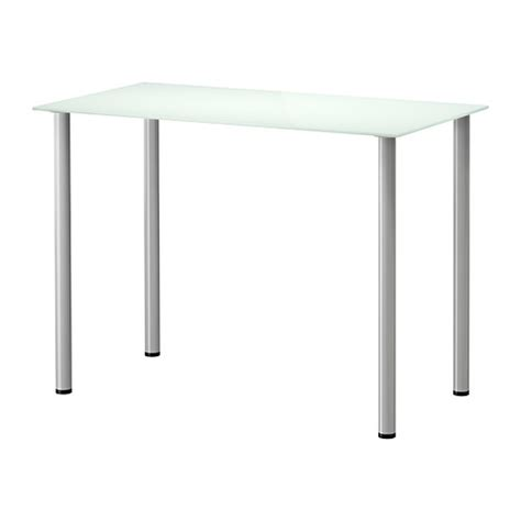 ikea table de bureau glasholm adils table verre blanc couleur argent ikea