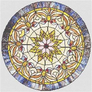 Counted Cross Stitch Pattern Victorian Stained Glass Round