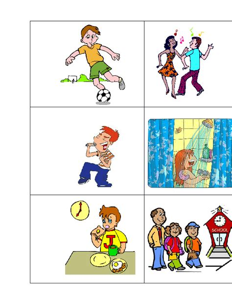 daily routines actions flash cards