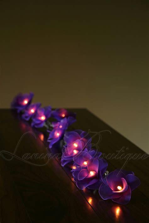 20 purple flower battery powered led string