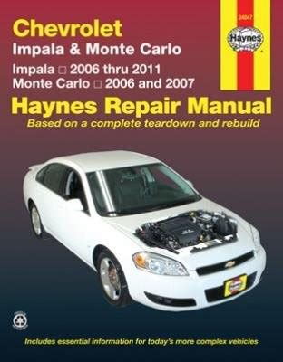 how to download repair manuals 1999 chevrolet monte carlo electronic throttle control chevrolet impala 2006 2011 and monte carlo 2006 2007 haynes repair manual jet com