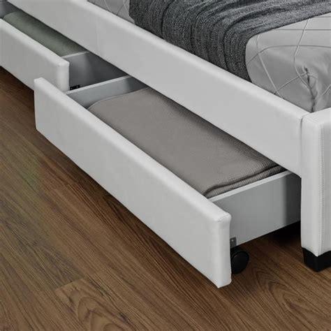 meuble table bar cuisine lit enfield blanc led et rangement tiroirs 160x200 cm