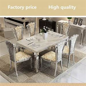 Contemporary modern dining set stainless steel marble top for Stainless steel dining table set