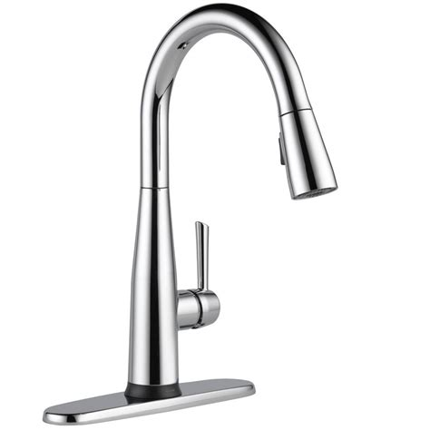 kitchen faucets with touch technology delta essa touch2o technology single handle pull down sprayer kitchen faucet with magnatite