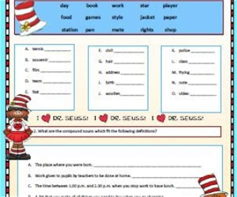 compound nouns worksheet