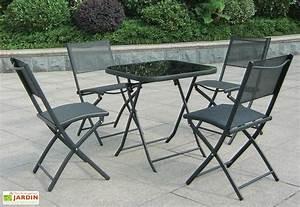 Table Pour Terrasse : salon de jardin pour terrasse en acier 1 table 4 chaises noir wilsa ~ Teatrodelosmanantiales.com Idées de Décoration