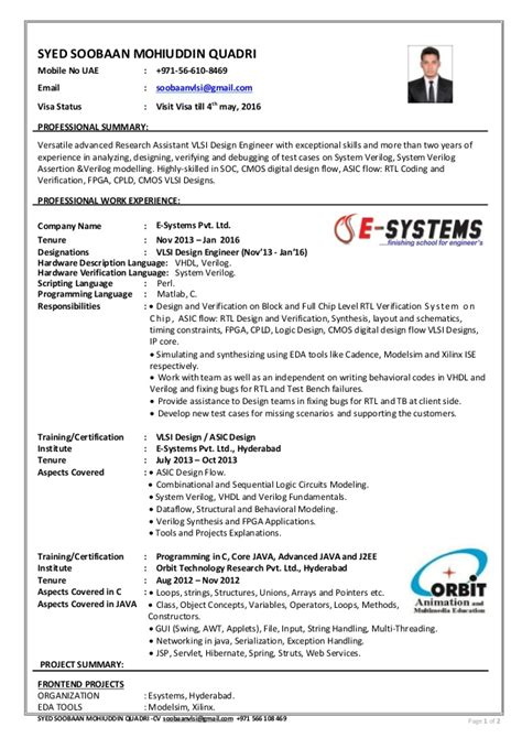 asic design engineer vlsi desing engineer cv