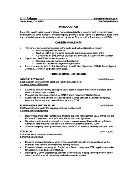 senior account executive resume free sles exles
