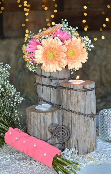 rustic country western wedding tealight centerpiece home