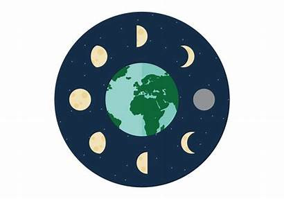 Moon Phases Vector Earth Around Flat Icons