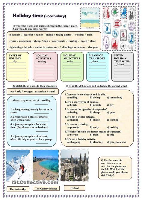 holiday time vocabulary english travel vocabulary