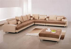 two tone fabric modern sectional sofa w ottoman pillows With sectional sofa or two sofas