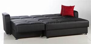Black leatherette modern sectional convertible sofa bed for Sectional sofa that converts to bed
