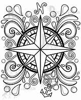 Coloring Compass Pages Printable Doodle Etsy Pyrography Pattern Adult sketch template