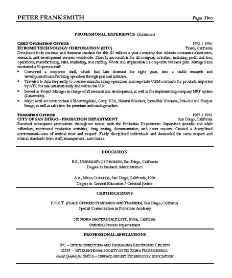resume sle 7 vice president resume career resumes