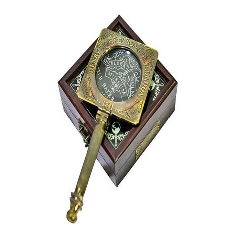magnifying glass holmes sherlock mirror brass antique box reading gifts wooden detective consulting case lens