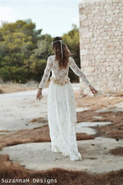 ivory lace bohemian wedding dress bridal wedding gown
