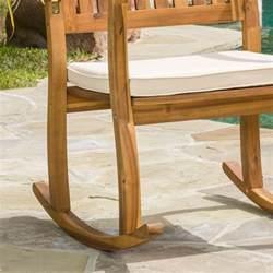 sadie outdoor acacia wood rocking chairs with cushion set