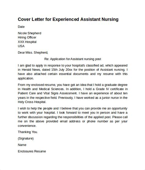 nursing cover letter exle 10 free documents