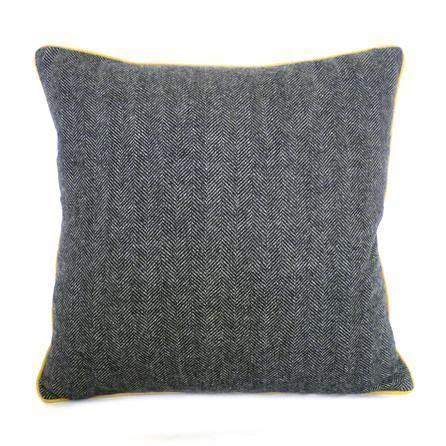 grey tweed mustard piped cushion dunelm mustard