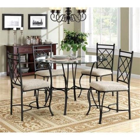 round glass breakfast table set 5 piece metal dining set glass top round table and chairs