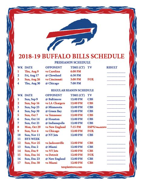 printable buffalo bills schedule