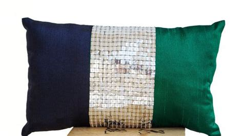 Navy Blue And Silver Throw Pillows by Throw Pillow Emerald Green Navy Blue Silver Color By