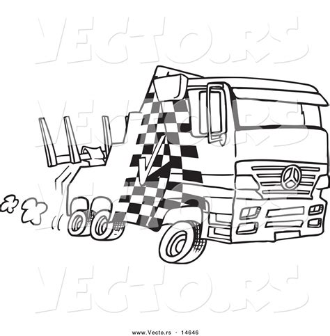 vector   cartoon fast tow truck coloring page outline  toonaday