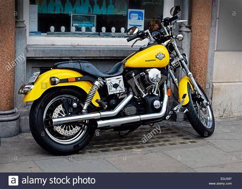 Harley Davidson Cruiser Motorcycle Yellow And Chrome