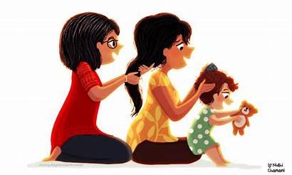 Generations Drawing Nidhi Chanani Hair Daughter Brushing