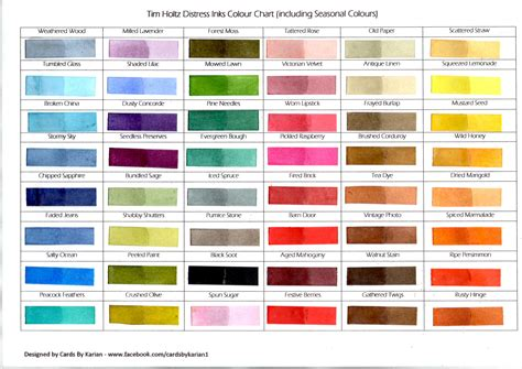 color pad tim holtz distress inks colour chart including season