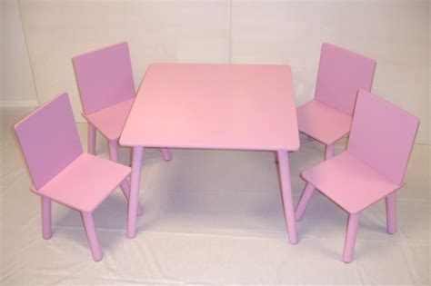 wooden table and 4 chairs set pink table and 4