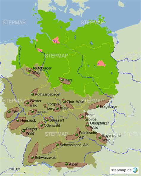Deutschland Karte Mit Gebirgen