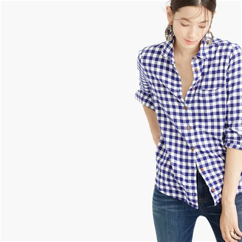 jcrew collection thomas mason top  embellished gingham  blue lyst