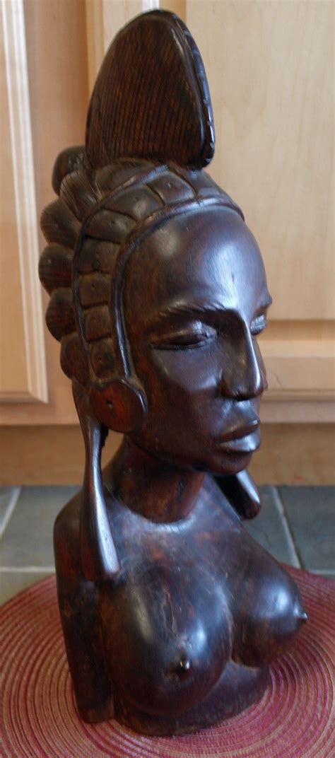 large heavy african carved wood female busthead fulani