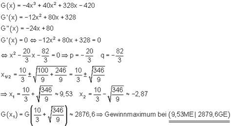 kostenrechnung als anwendung der differentialrechnung