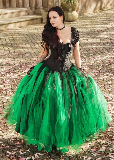 black green gothic long prom dress   roseblooming