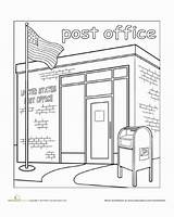 Office Town Paint Coloring Worksheet Worksheets Education Clipart Mail Kindergarten Pages Preschool Places Crafts Drawing Community Library Station Fire Building sketch template