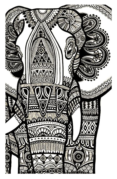 elephant te print   elephants adult coloring pages